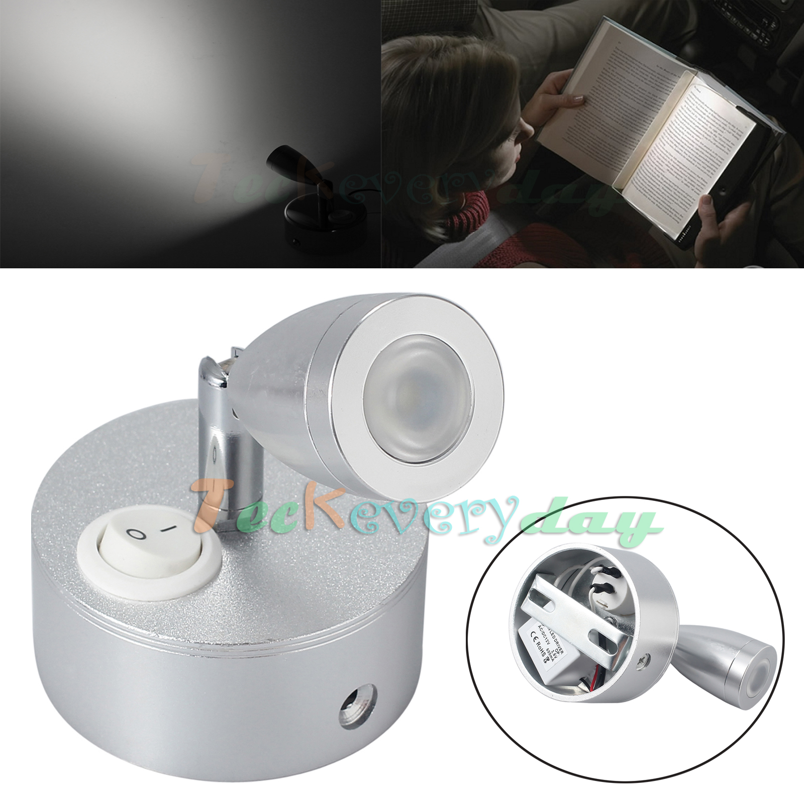 Caravan Interior Wall Lights : LED Spot Reading Light Switch Wall Lamp Camper Caravan Motorhome Interior Light eBay