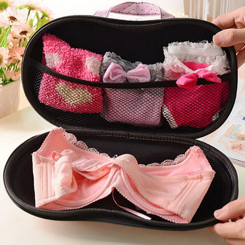 BraiouPremium Bra Case Lingerie Travel Bag Zip Underwear Organizer Fits up A-C Cup Black Dot