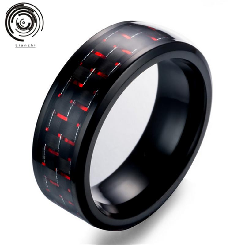 Tungsten Mens Silver Red Carbon Fiber 8MM Wedding Band Ring Never Tarnish UK