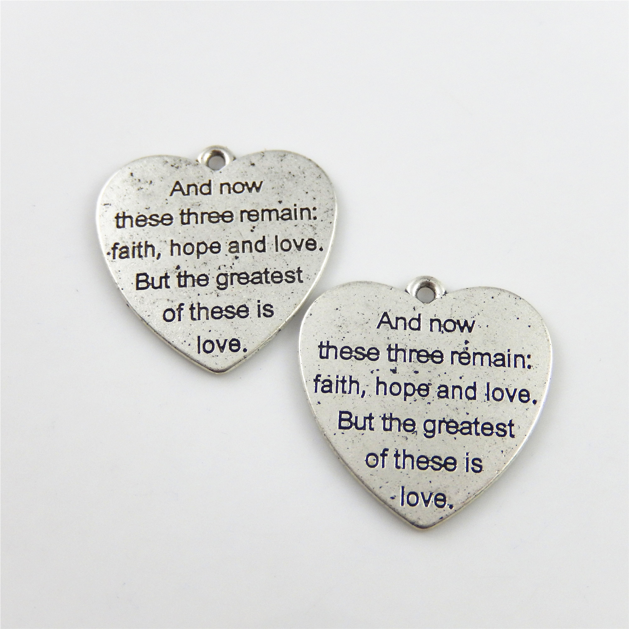 50Pcs Antiqued Bronze Love Engrave Charm Beads Pendants Jewelry Finding