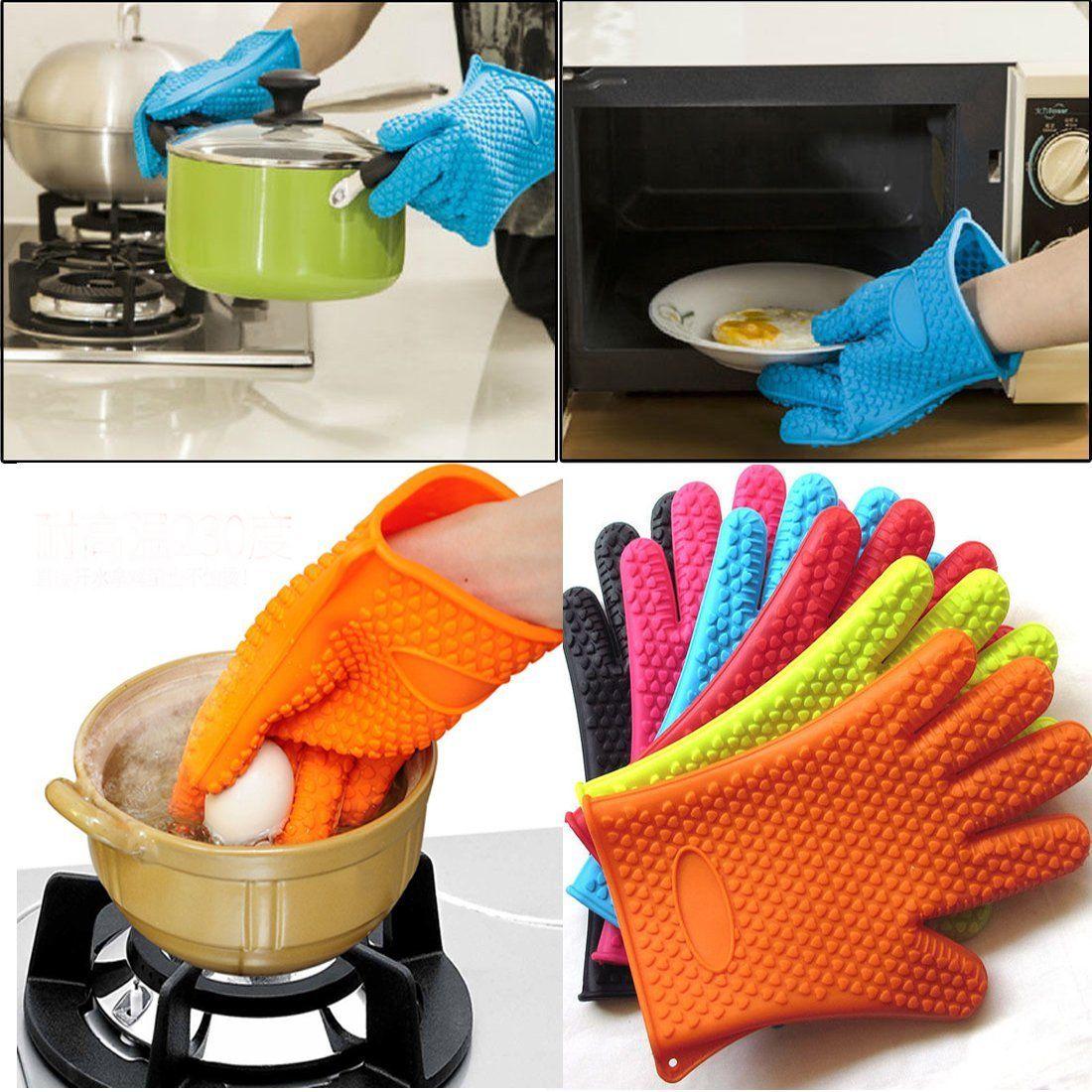 Kitchen Oven Mitts ~ Kitchen oven glove heat resistant silicone holder baking