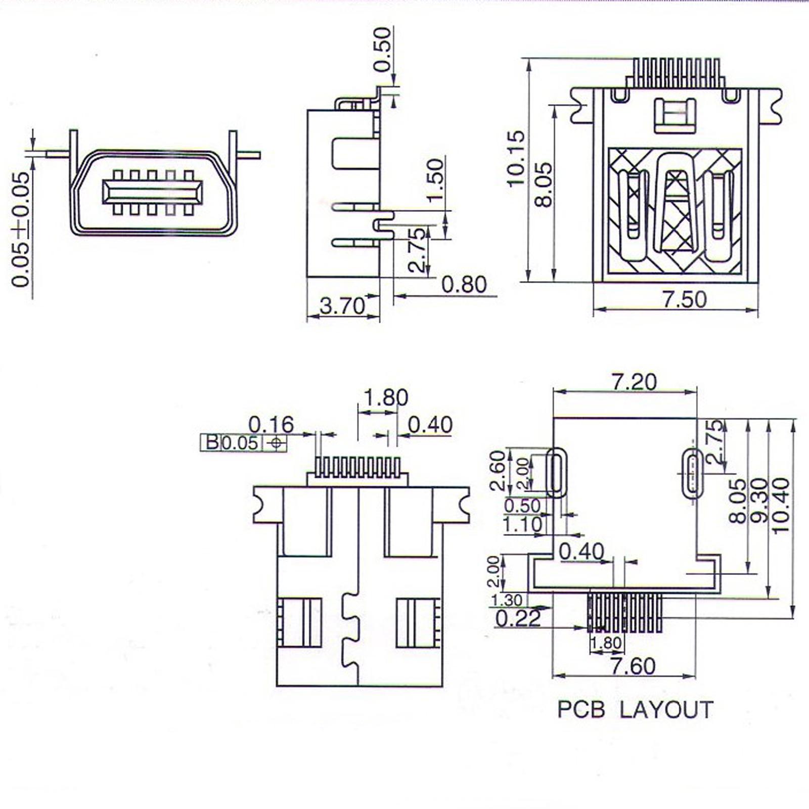 10pcs Mini Usb 10 Pin Female Pcb Socket Connector Ebay