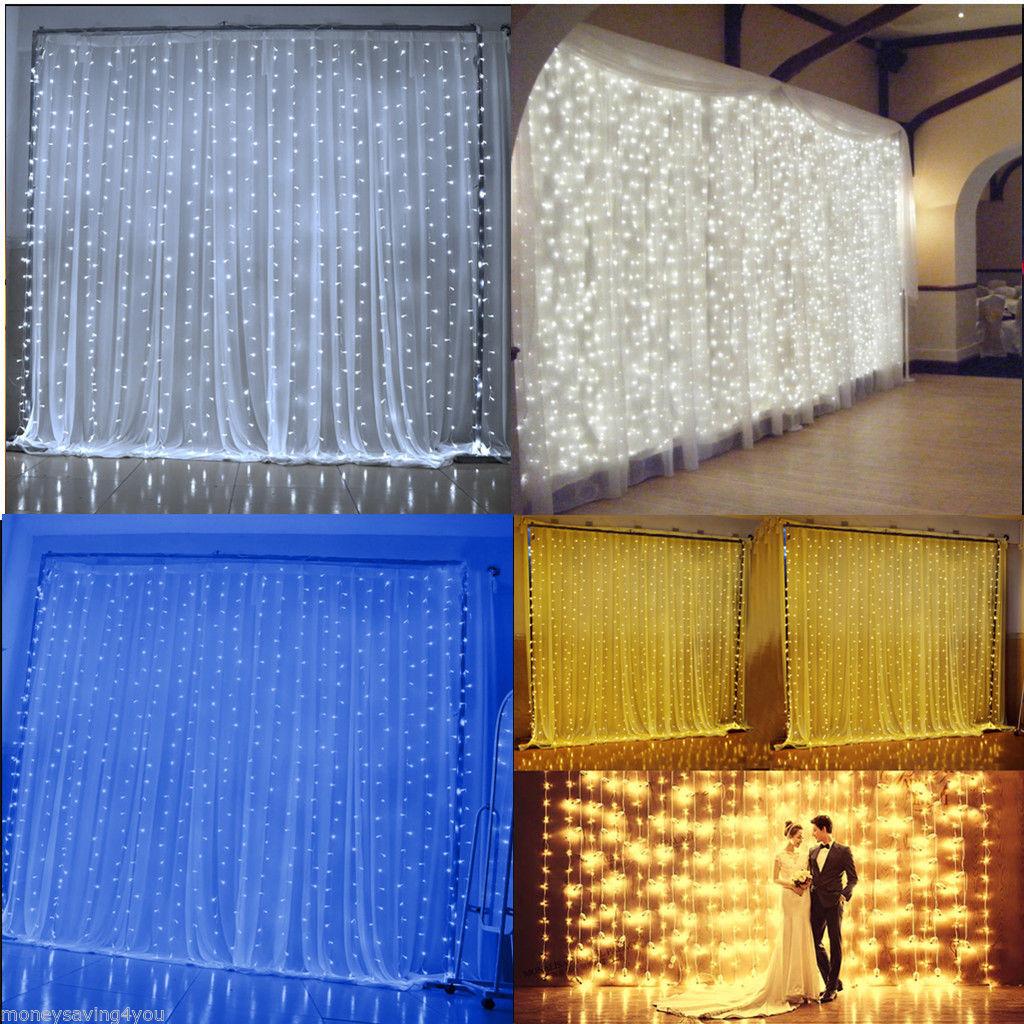 Indoor String Lights Curtain : 600 LED 6x 3M String Fairy Lights Indoor/Outdoor Curtain Xmas Christmas Party UK eBay