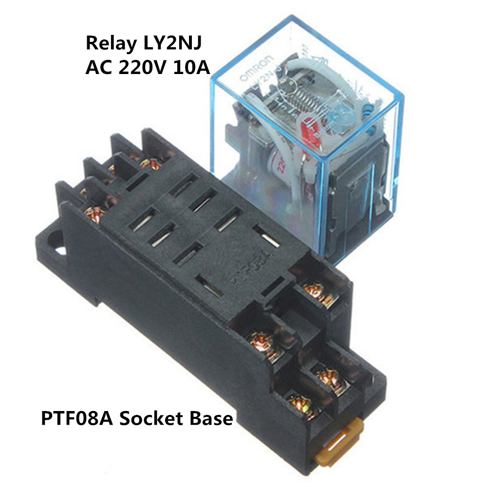 10a 8pin Ac 220v Coil Power Relay Dpdt Ly2nj Hh62p Hhc68a 2z Socket Electrical Base
