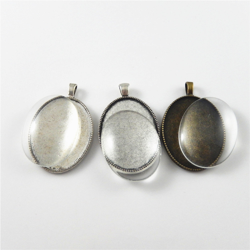 bronze silber legierung oval kamee tablett mit glas schmuck anh nger 3 sets ebay. Black Bedroom Furniture Sets. Home Design Ideas