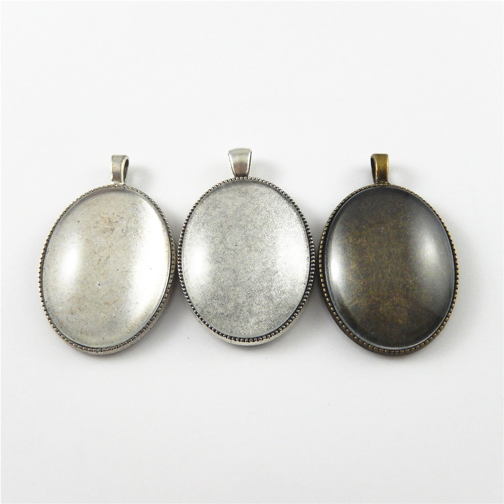 bronze silber legierung oval kamee tablett mit glas schmuck anh nger 3 sets ebay. Black Bedroom Furniture Sets. Home Design Ideas