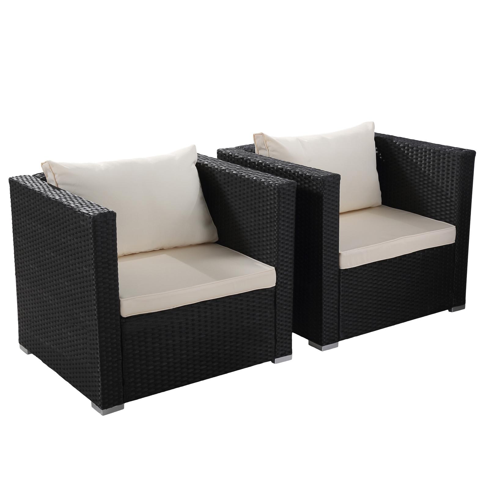 Pe Wicker: Black 7PC Patio PE Rattan Furniture Wicker Sofa Set