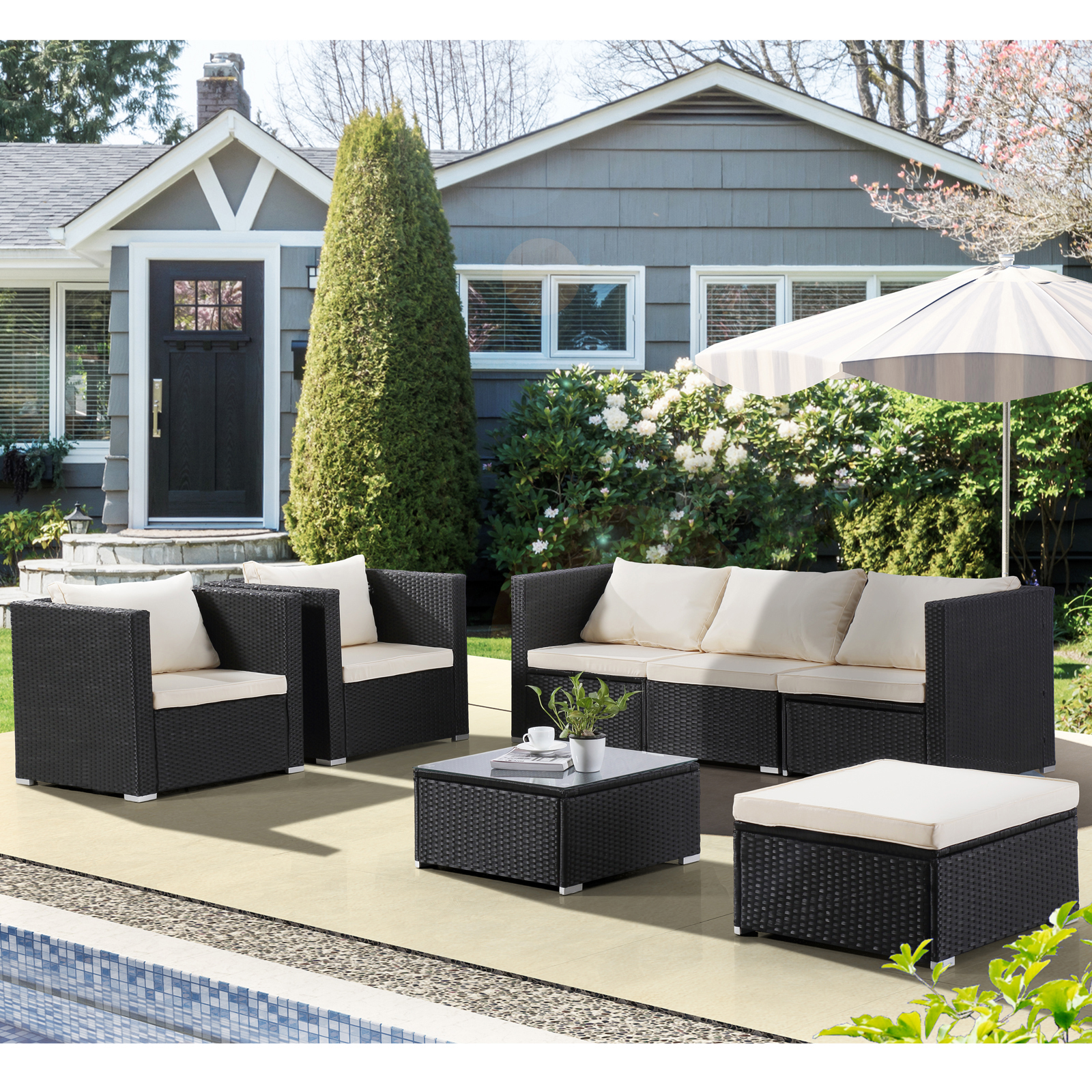 Black 7pc Patio Pe Rattan Furniture Wicker Sofa Set