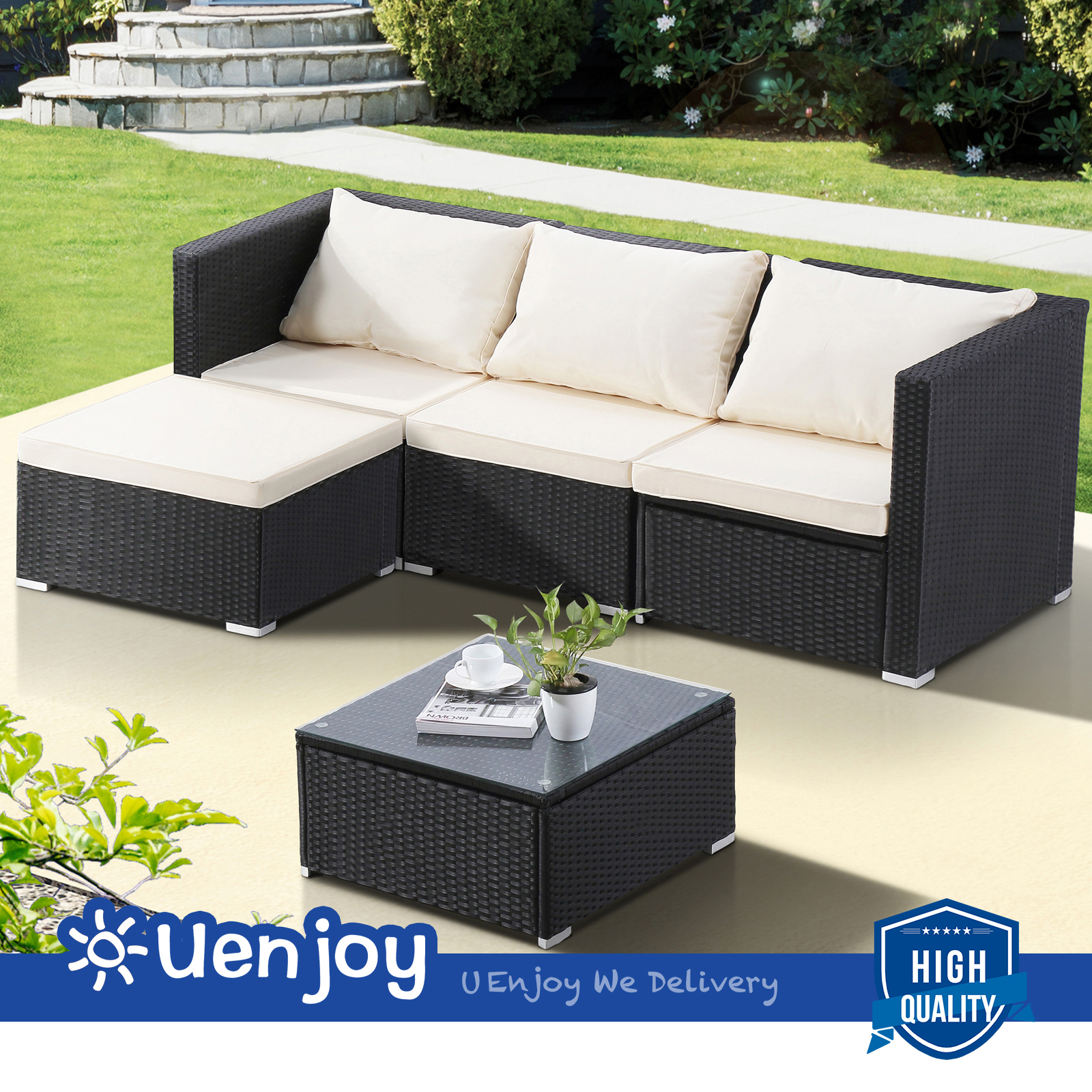 5 Piece Wicker Rattan Patio Sofa Set Garden Furniture Outdoor
