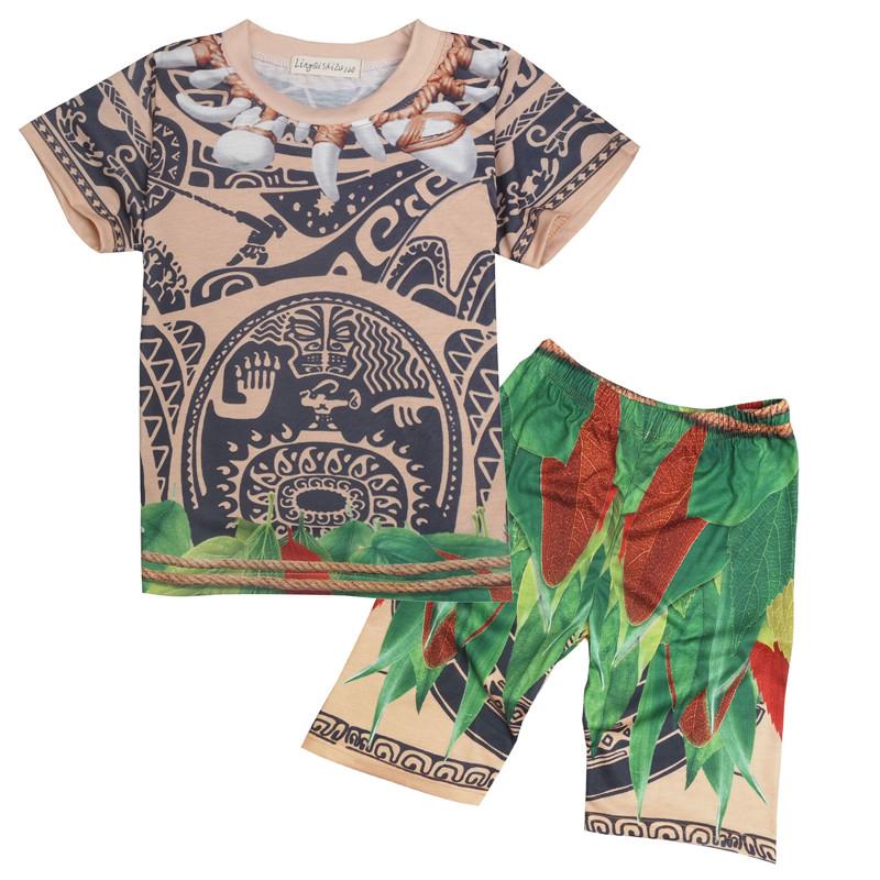 New summer kids boys moana maui t shirt tees pants for Maui shirt tattoo