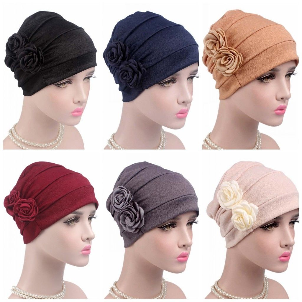 a9cd72f3d7a Women Flower Beanie Scarves Hats Headwear Muslim Cap Chemo Hat Head ...
