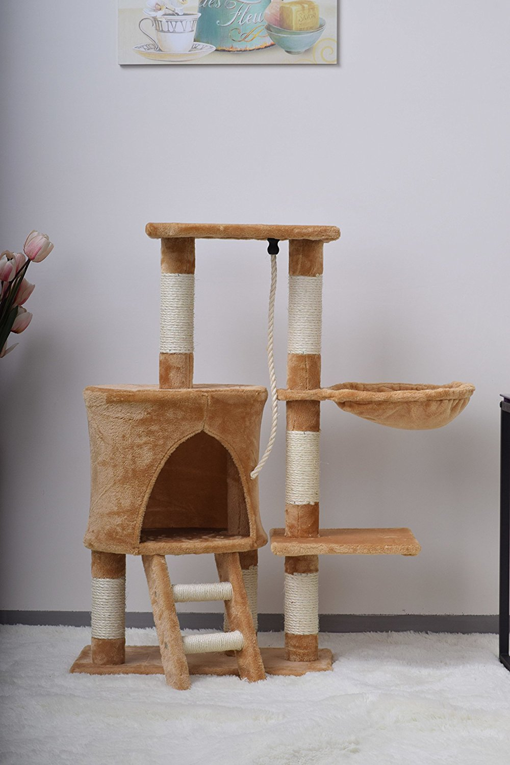Pet Cat Scratching Post Bed Rest Platform Kitten Climbing Tree  # Muebles Pestana