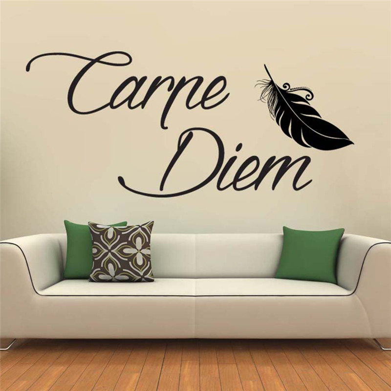 carpe diem feder wandtattoo wandaufkleber wandsticker wohnzimmer wanddeko ebay. Black Bedroom Furniture Sets. Home Design Ideas