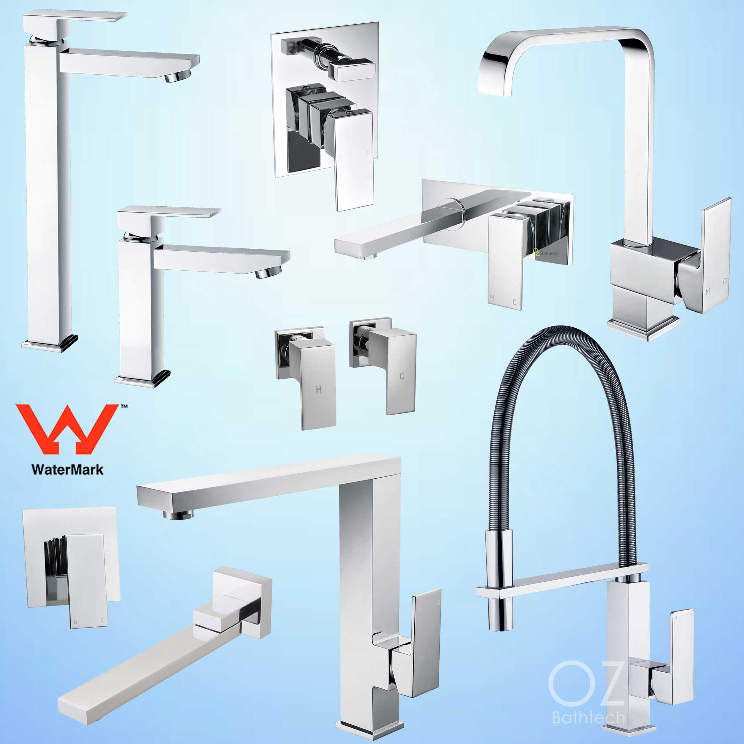 Square Pull Out Shower Tall Basin Mixer Laundry Sink Tap Faucet ...