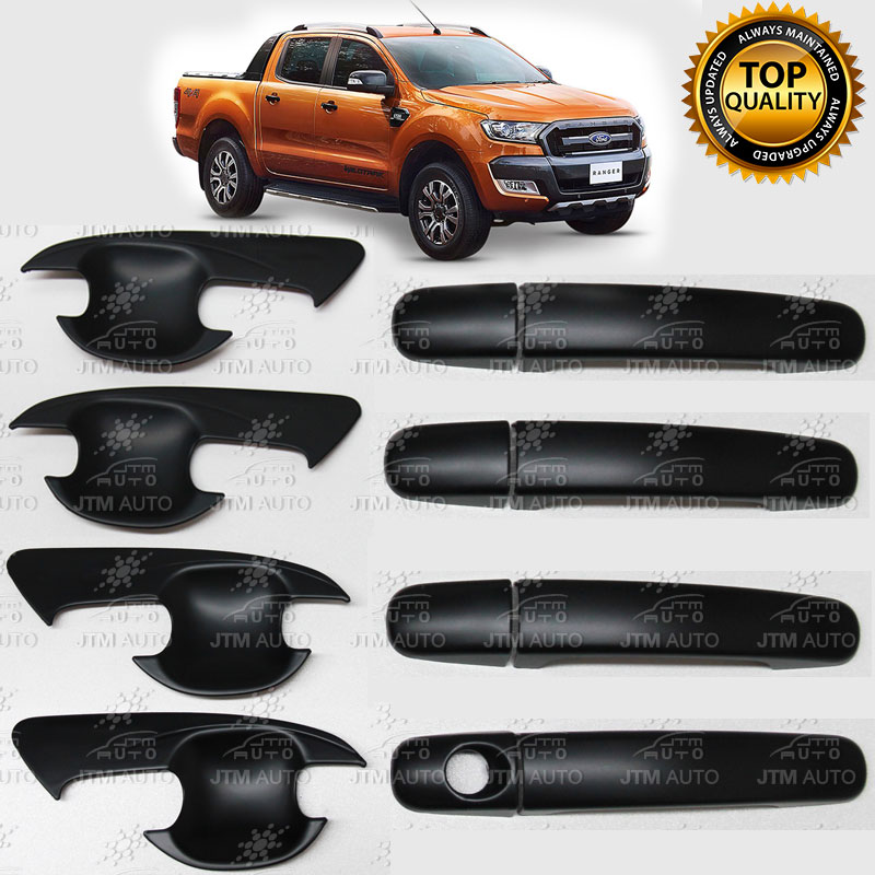 MATT Black Door Handle Bowl Cover Protector to suit Ford Ranger 2012 - 2018