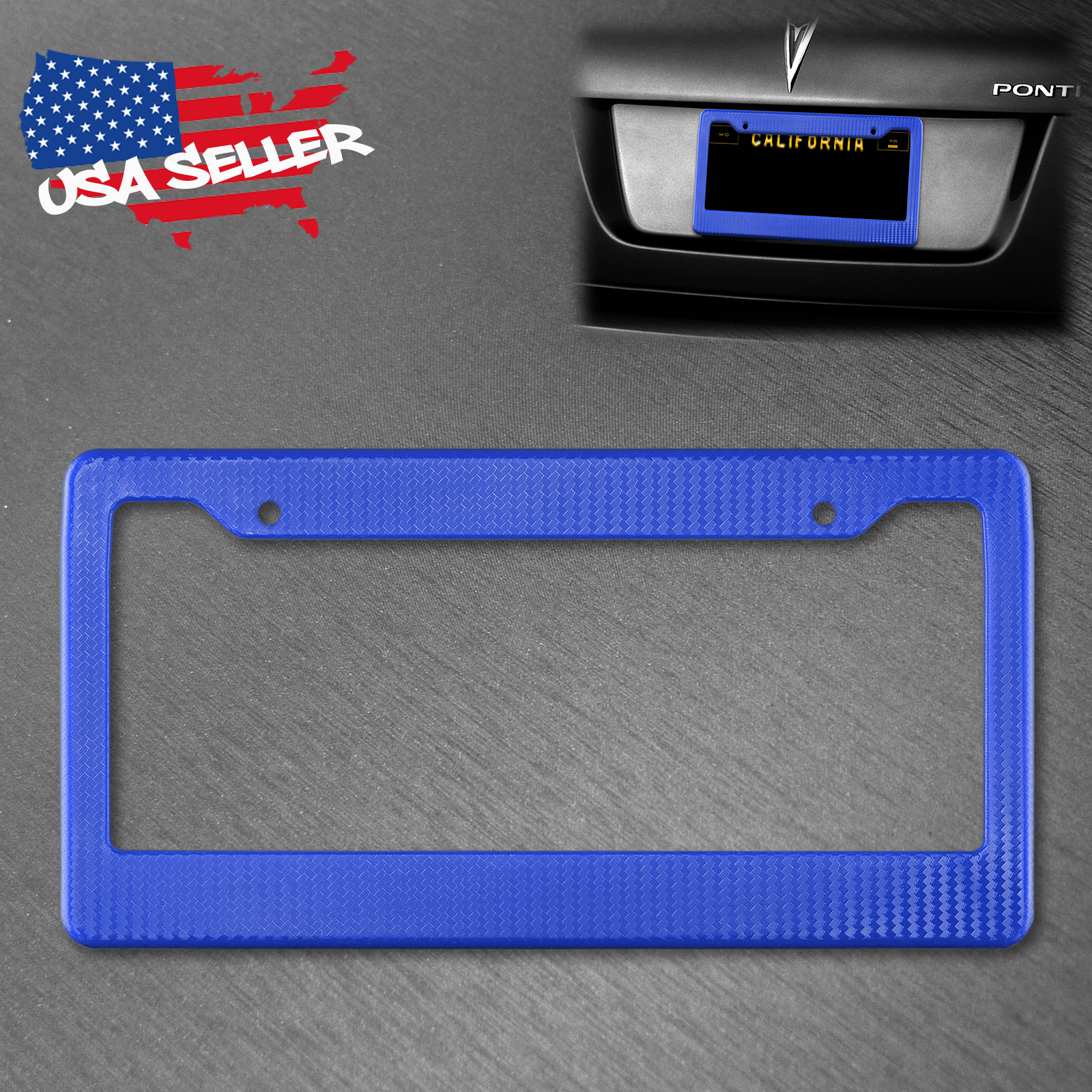 Gloss Real Carbon Fiber License Plate Frame Cover Trim 1PC Universal fit USA siz