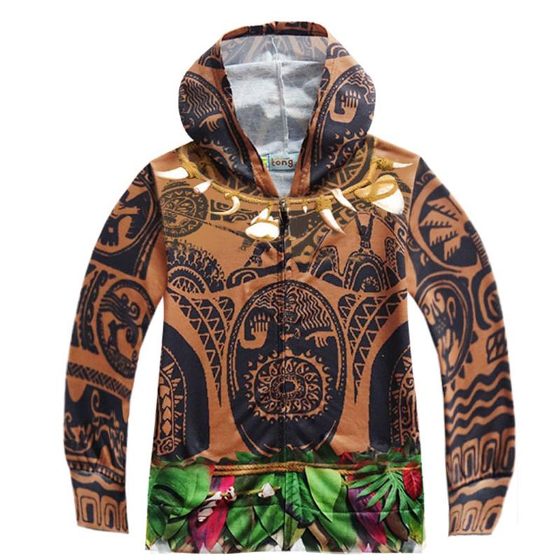 Kids Boys Moana Maui Tattoo Cosplay Hooded Sweatshirt Halloween ...
