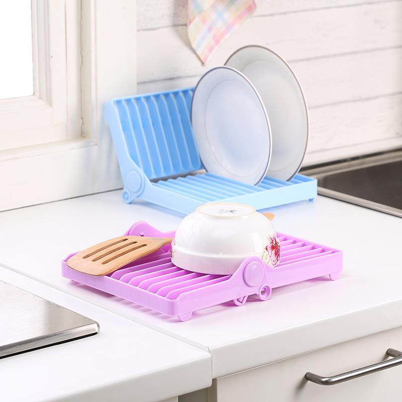 Detail & Kitchen Folding Drainer Plastic Storage Holder Dish Plate Organizer ...