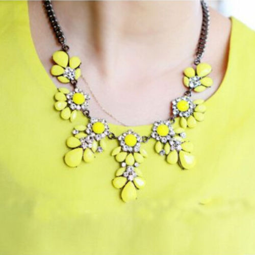 Women Fashion Jewelry Crystal Chunky Statement Bib Pendant Chain Choker Necklace