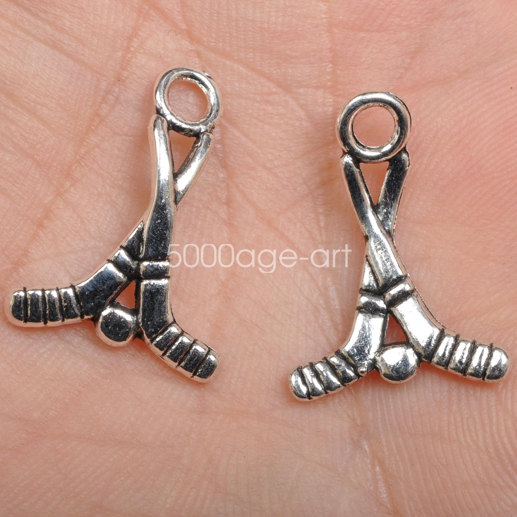 40pcs tibetan silver color Hockey sticks design charms necklace pendants A3551