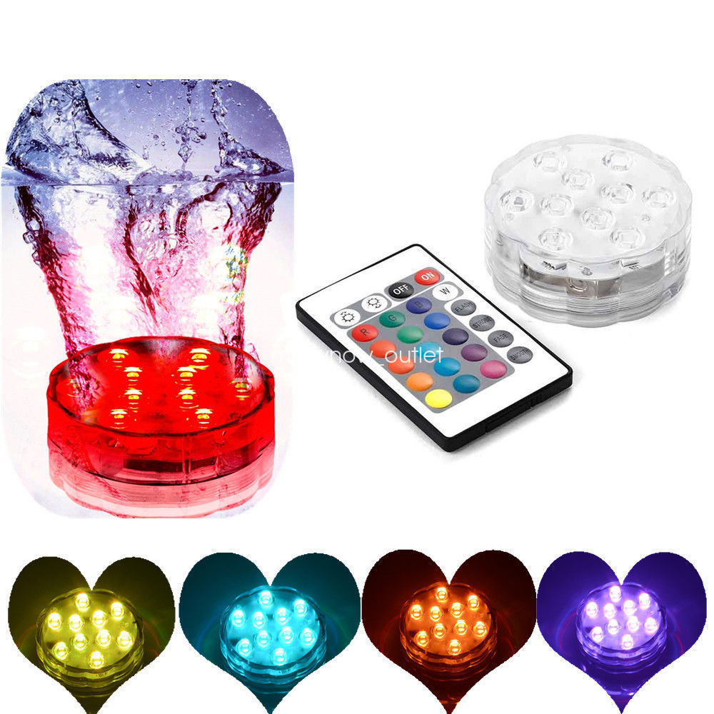 rgb 10 led submersible mehrfarbig wasserdicht vase basis licht mit fernbedienung ebay. Black Bedroom Furniture Sets. Home Design Ideas