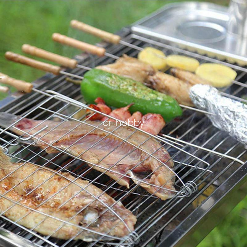 Big size bbq barbecue meat burger fish e holder grill rack for Bbq fish grill