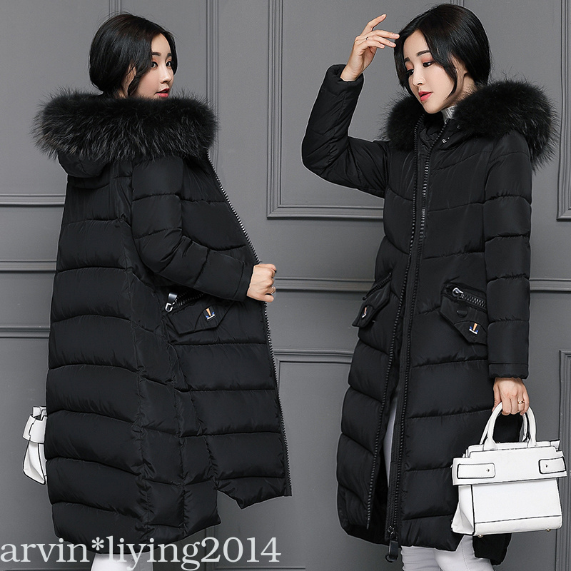 New Winter coat jacket womens fur Hood coat down long ladies ...