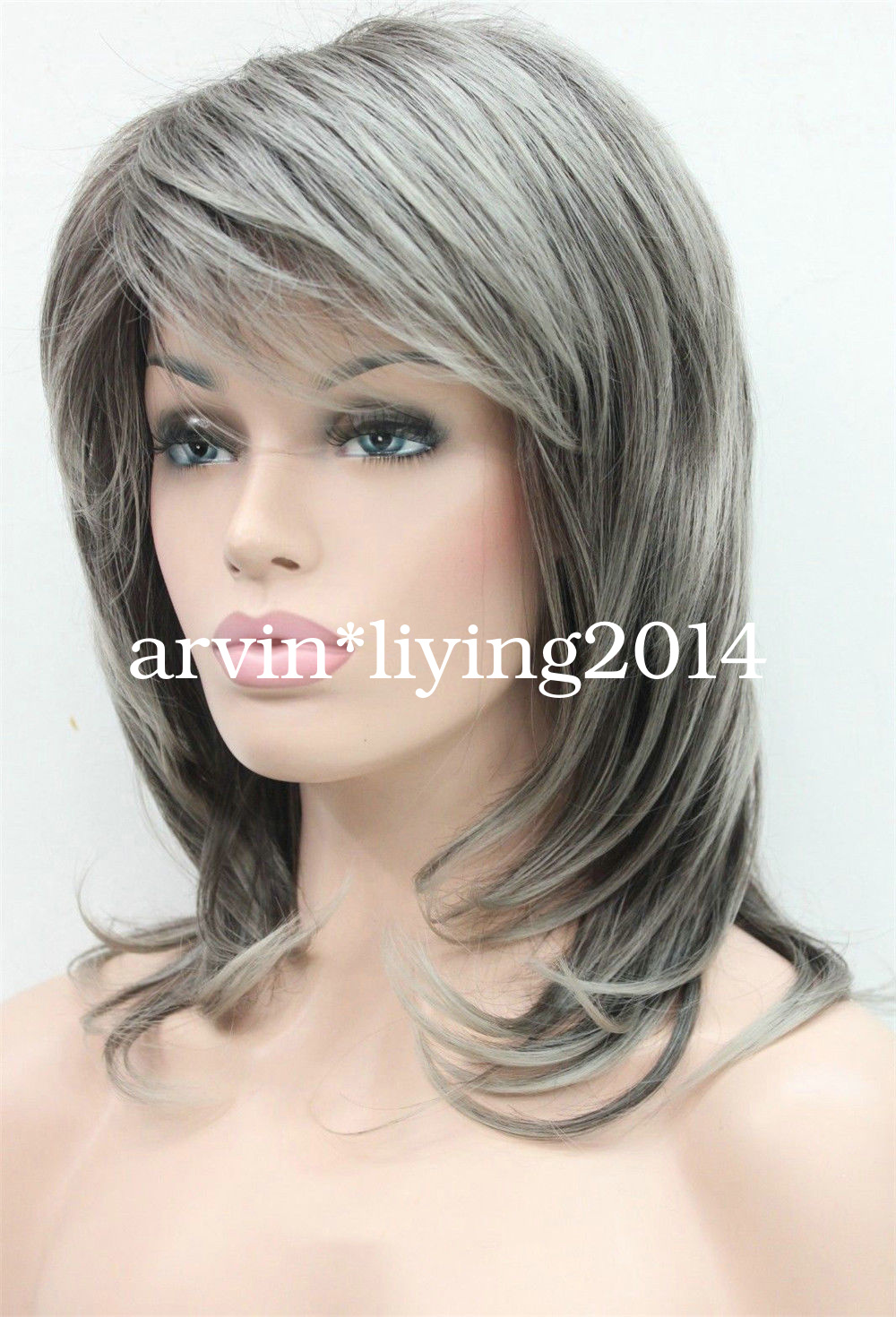 Ladies Layered Women Wig Medium Long Natural Hair Daily
