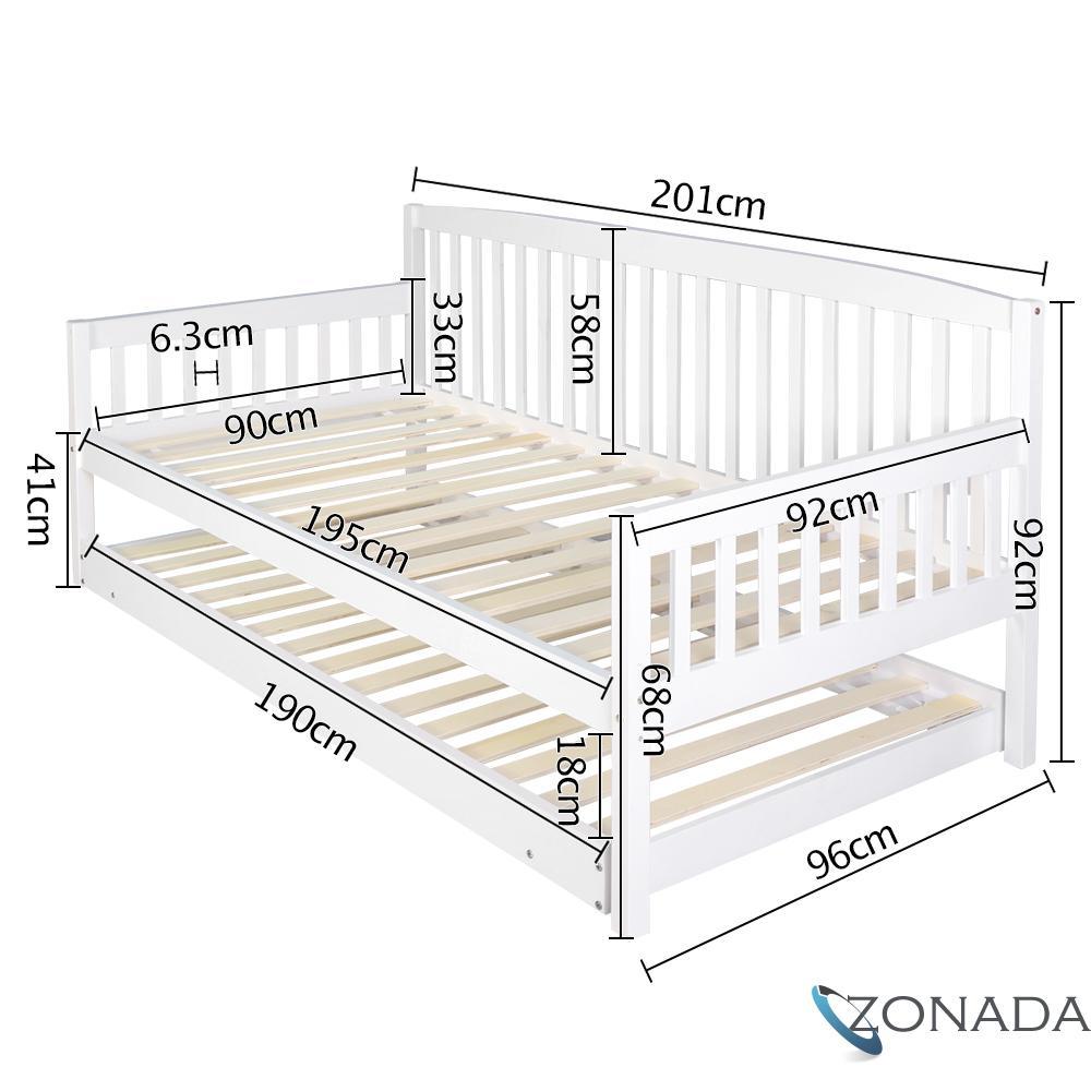 Wooden Sofa Bed Frame Single White