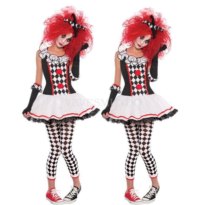 damen clown harlekin zirkus pierrot party kost m faschingskost me damenkost me ebay. Black Bedroom Furniture Sets. Home Design Ideas
