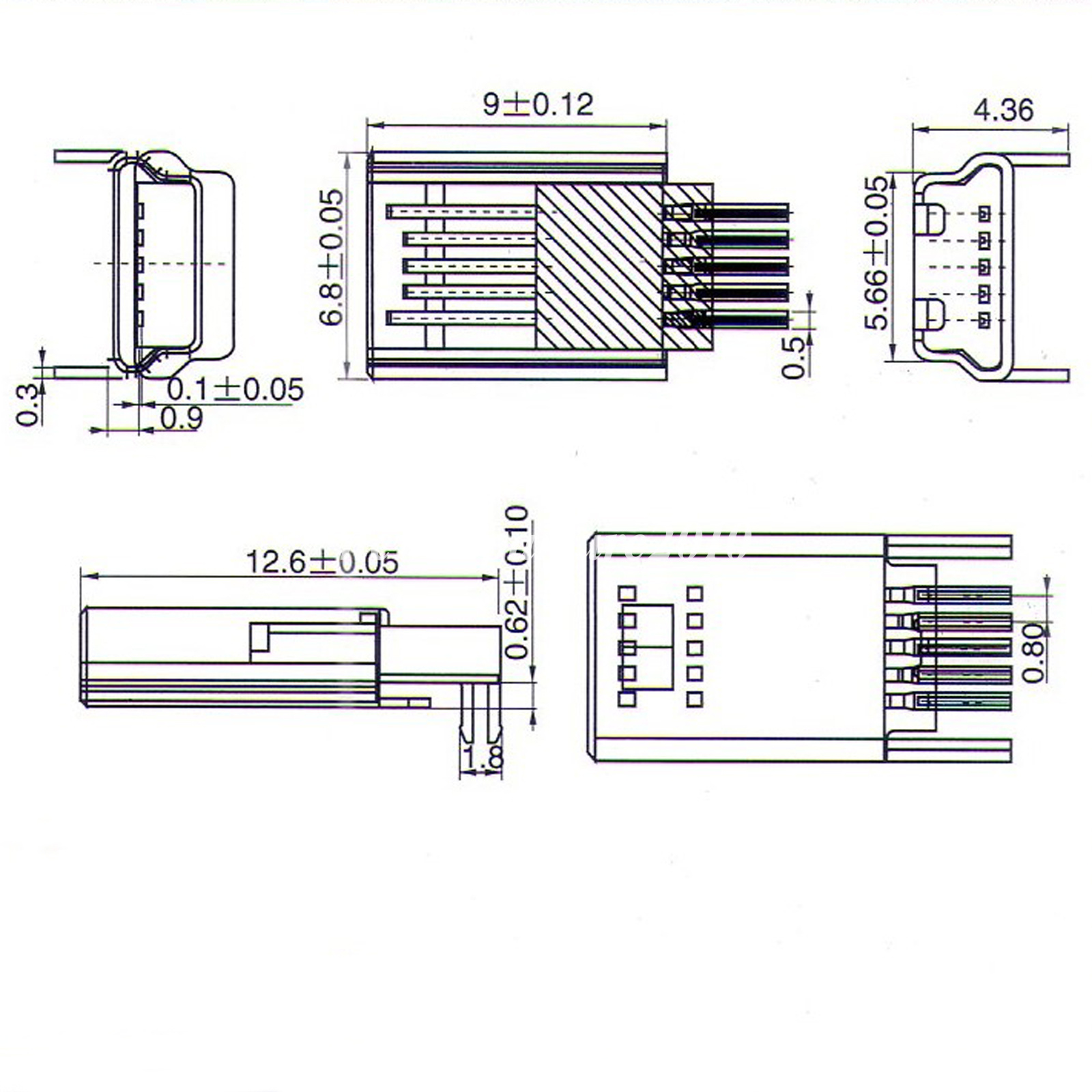 10pcs Mini Usb 5 Pin Male Smt Smd Pcb Socket Connector Diy