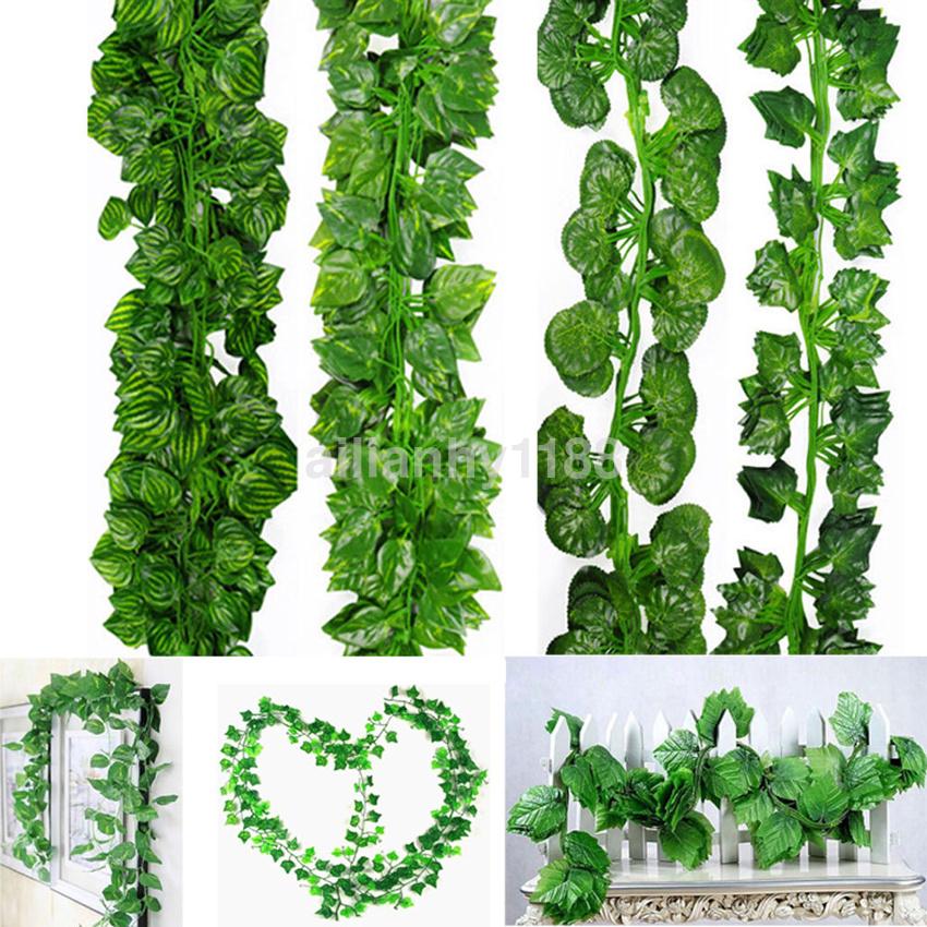 2M Ivy Leaf Garland Green Plant Plastic Vine Foliage Yard Home Garden Decor ATUS