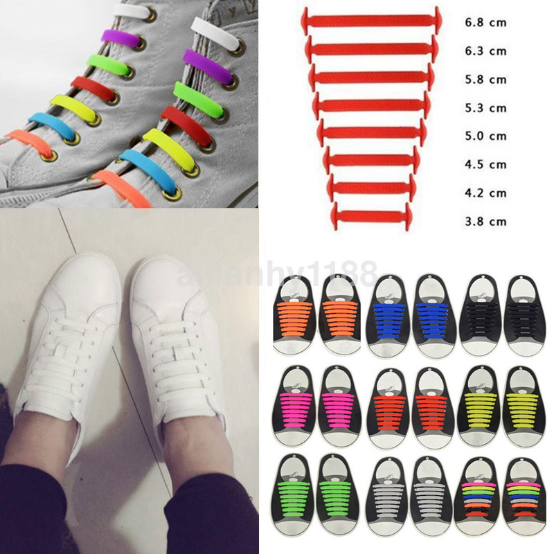 No Tie Shoelaces Elastic Lock Shoe Laces Running/&Jogging Canvas Sneakers Trainer