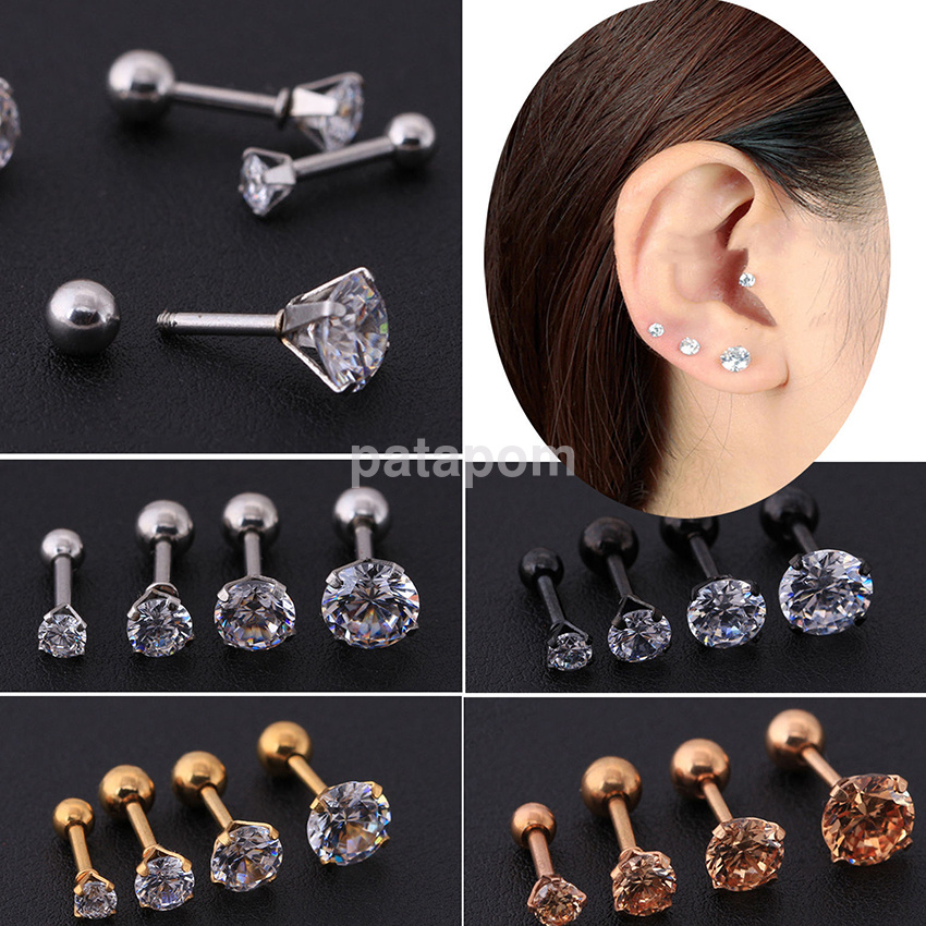 Prong Tragus Cartilage Earring Stainless Steel Body Piercing Ear Stud Jewelry