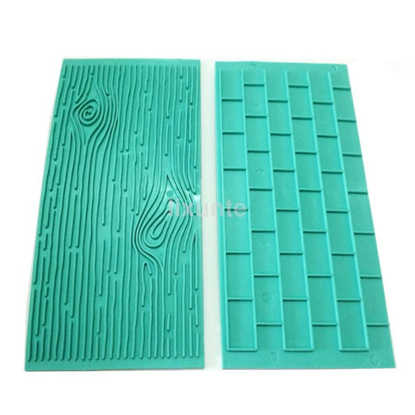 2pcs Lot Silicone Mold Wood Cake Fondant Wall Brick Wood