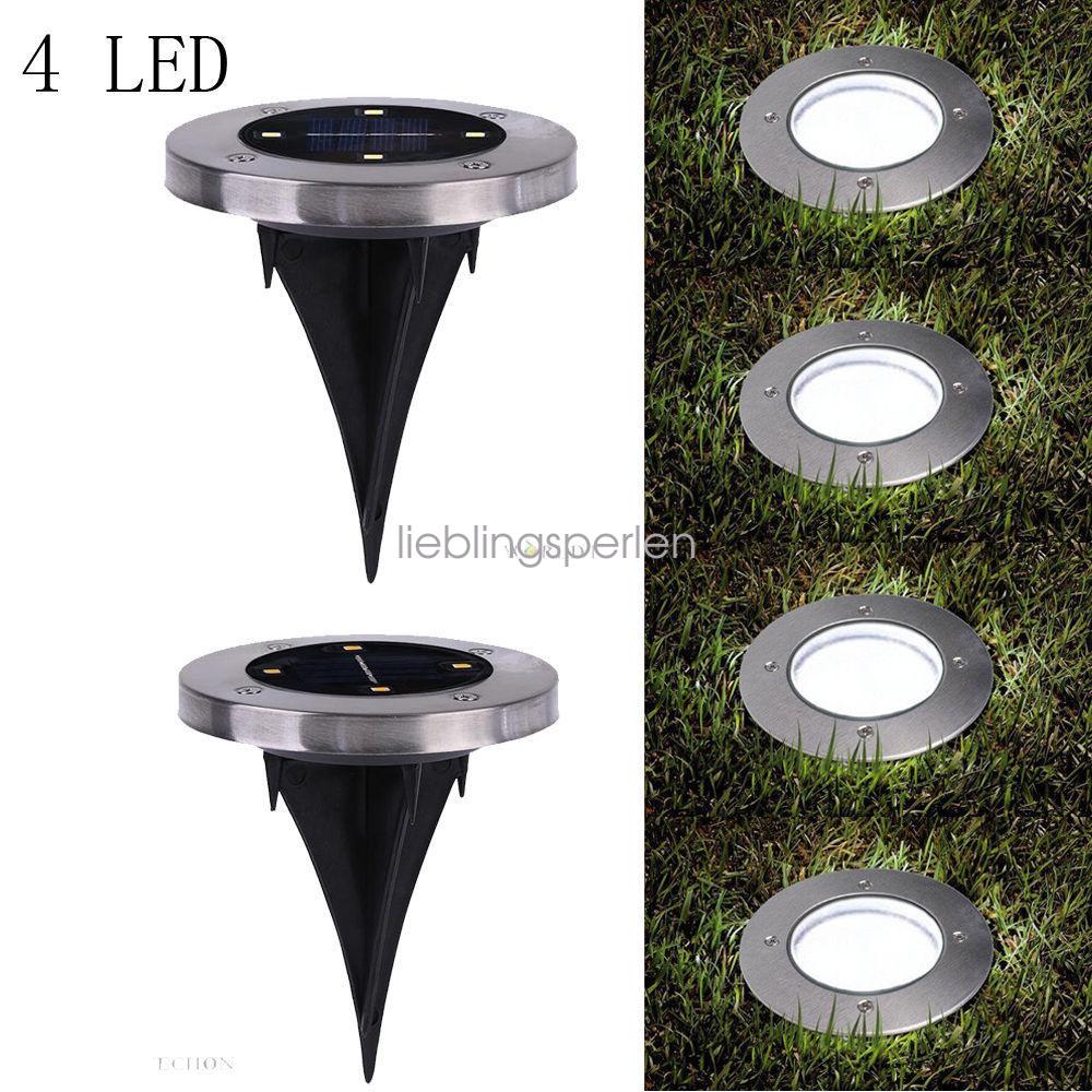 1x 4 led solar power licht bodenleuchten mit akku garten stand licht au en lampe ebay. Black Bedroom Furniture Sets. Home Design Ideas