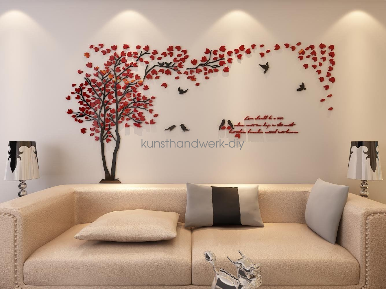 Us couple tree 3d wall stickers living room bedroom mural - Wall sticker ideas for living room ...