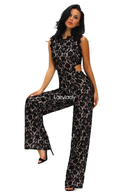 ec779c960a3 New Sexy Women Black Lace Sleeveless Party Evening Long Elegant Jumpsuit  Fashion