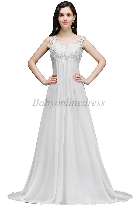 Long White/Ivory Chiffon Wedding Beach Dress Bridal Gown Size 4 8 10 ...