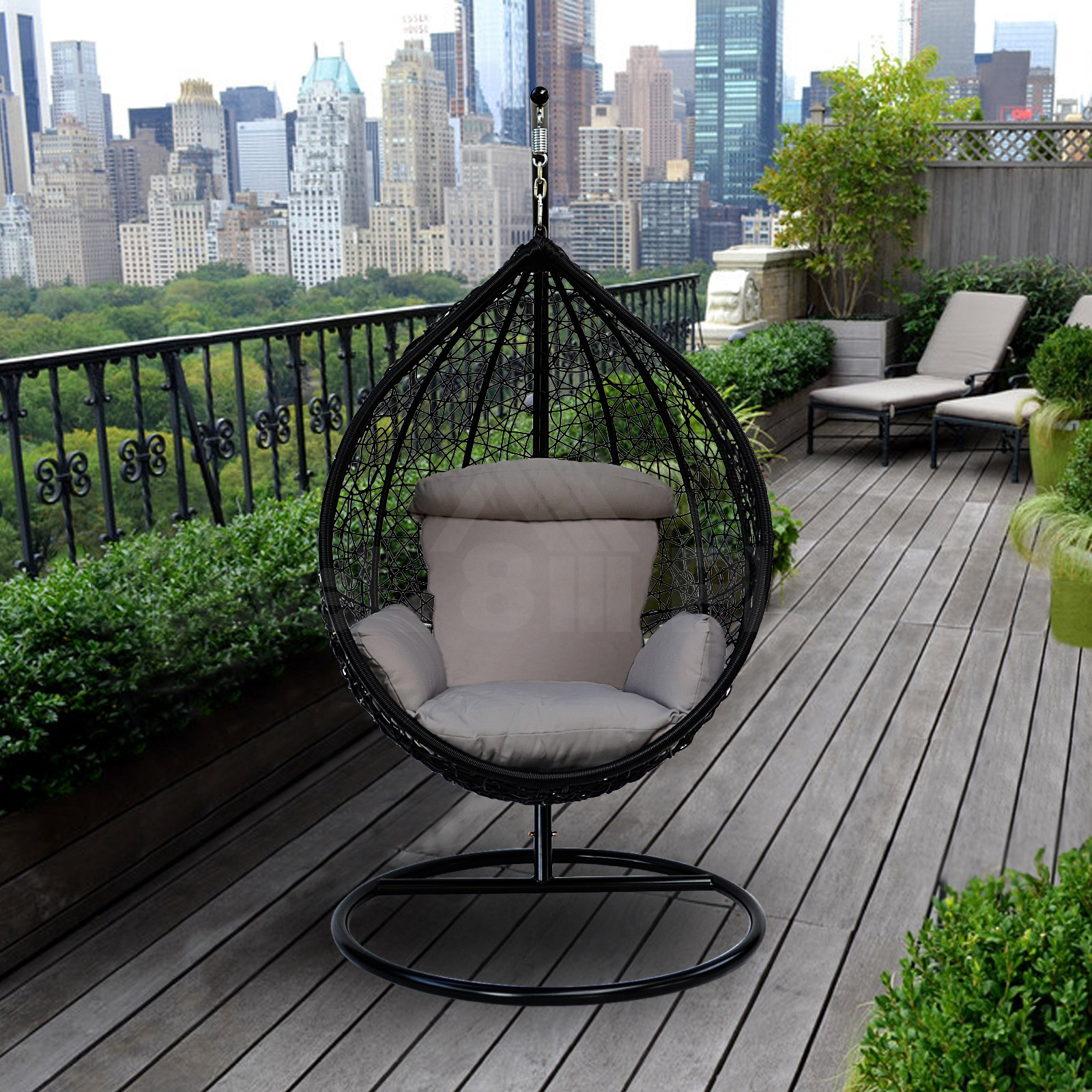 Patio Swing Egg Seater Chair Hanging Stand Hammock Wicker ...