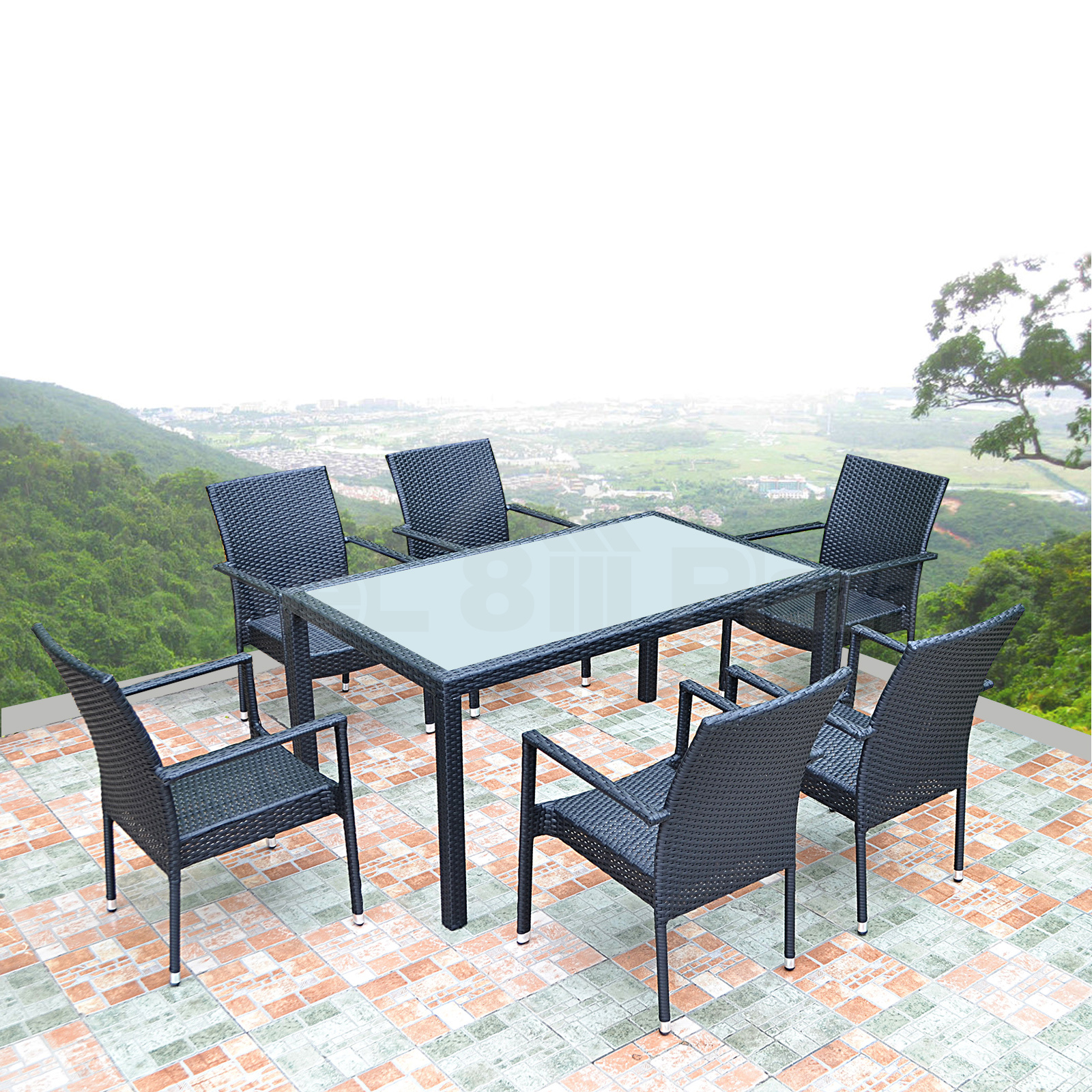 Outdoor wicker dining set glass table stackable chairs for Outdoor dining table glass top