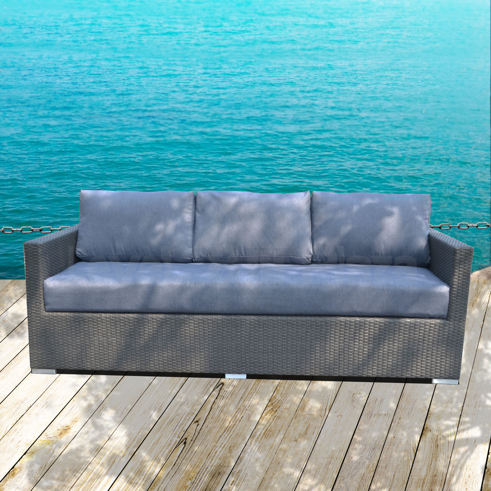 Patio balcony wicker furniture outdoor 3 seater lounge for Outdoor furniture 3 seater