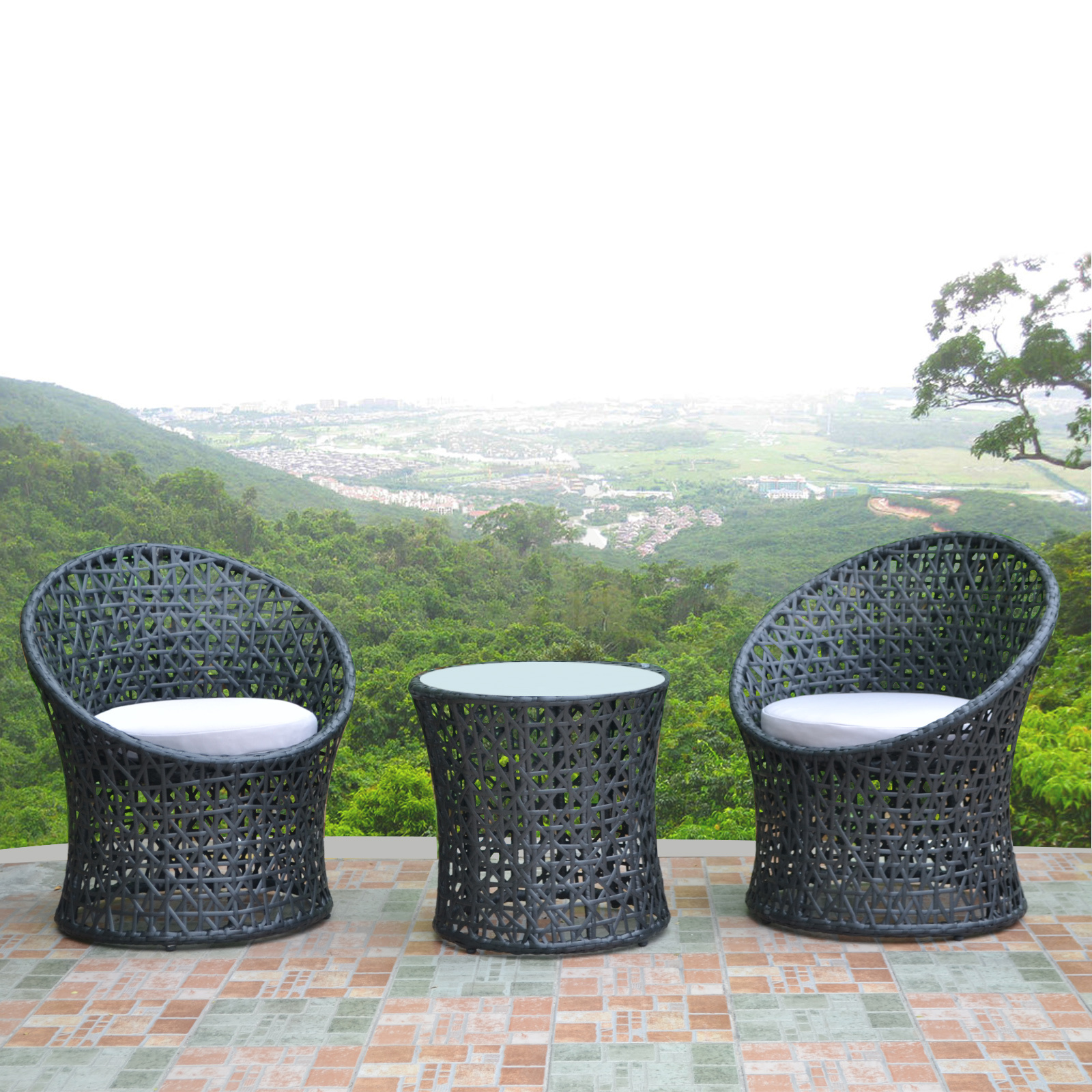 egg chairs glass coffee table outdoor rattan garden wicker furniture