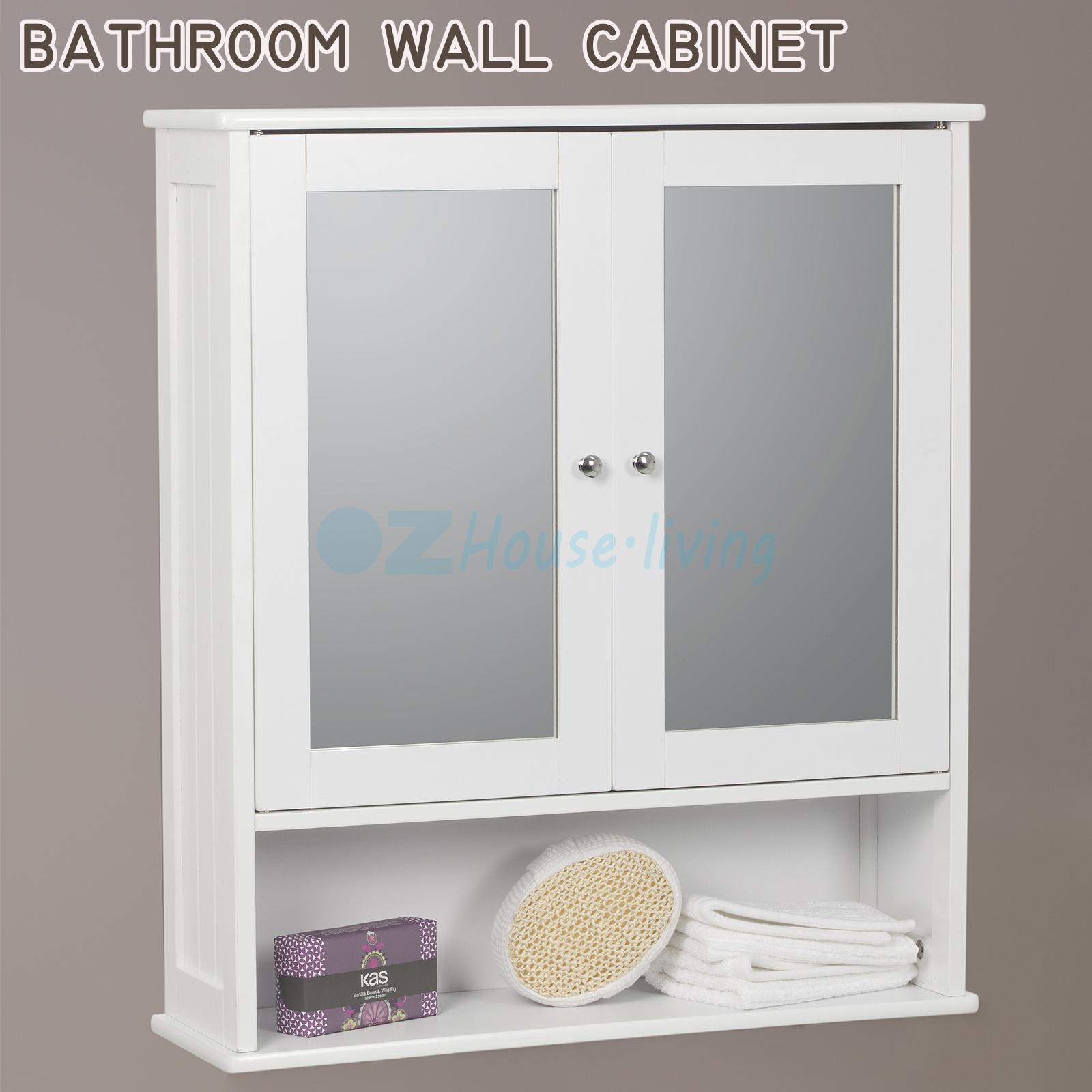 mirror door white wall bathroom cabinet storage organiser shelf