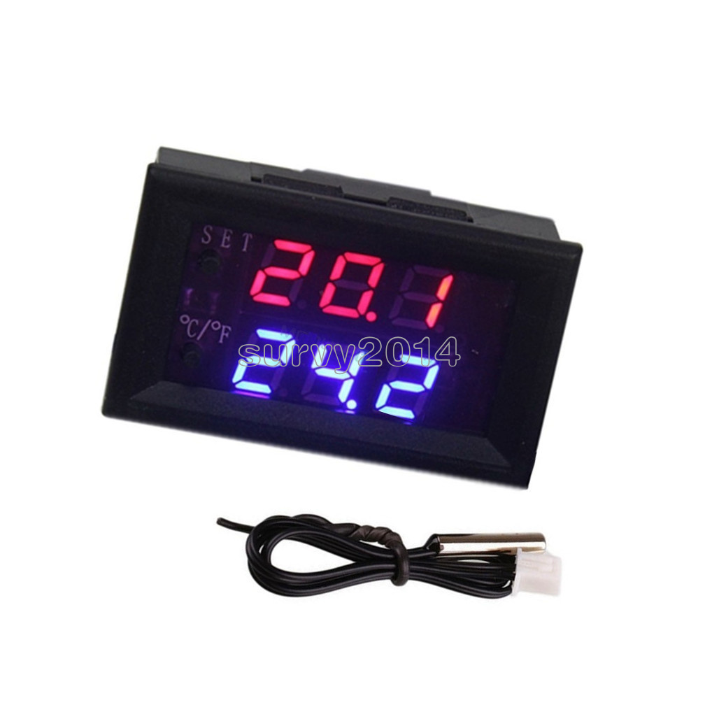 Blue W1218 Thermostat 12V NTC Probe Controller 3-Digit Display Replace W1209WK