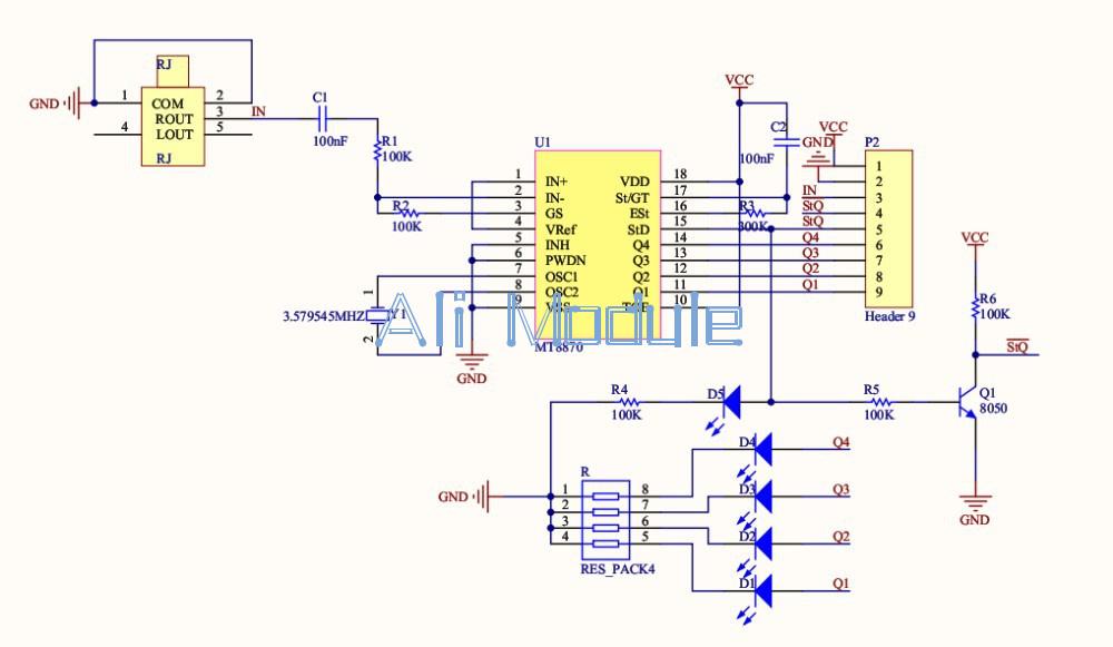 Mt8870 Dtmf Voice Decoder Module Telephone Audio Decoder Speech