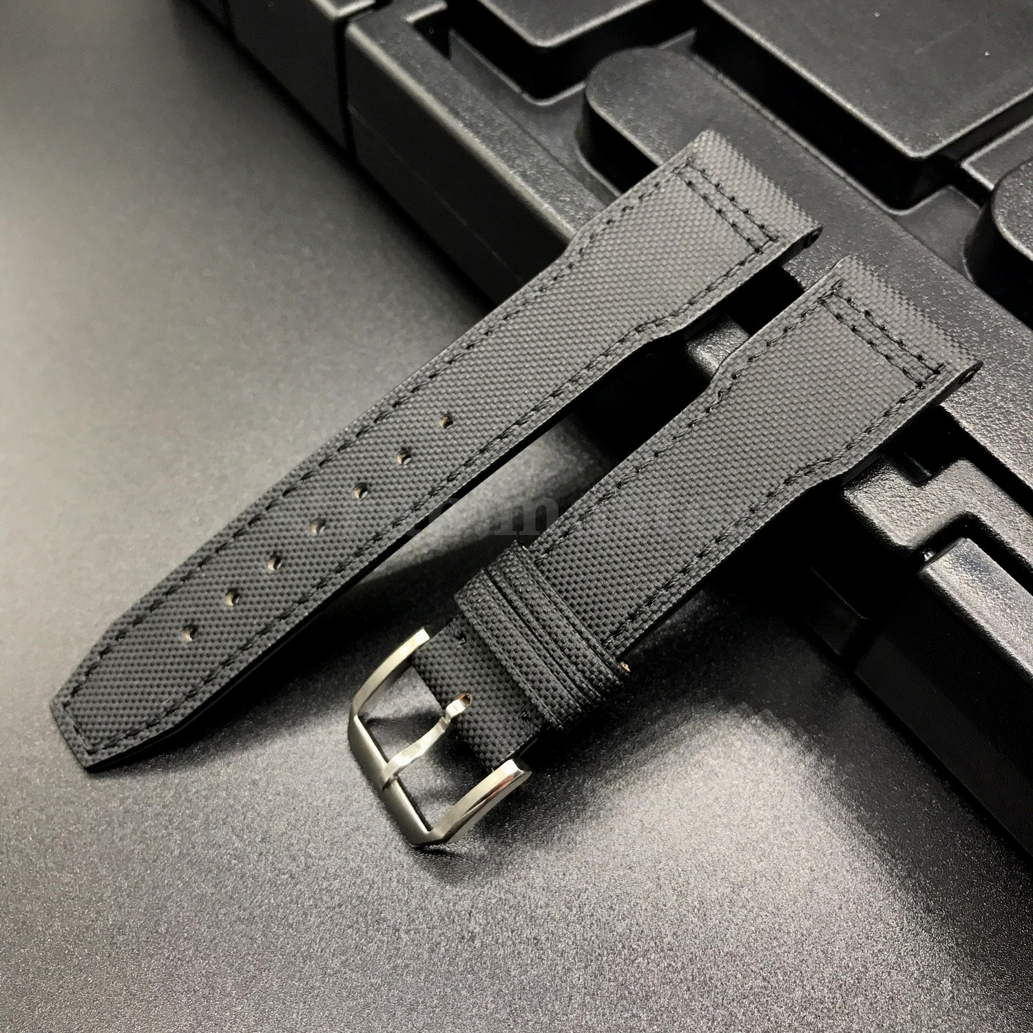 Black Kevlar Leather Short Strap Band For Iwc Big Top Gun