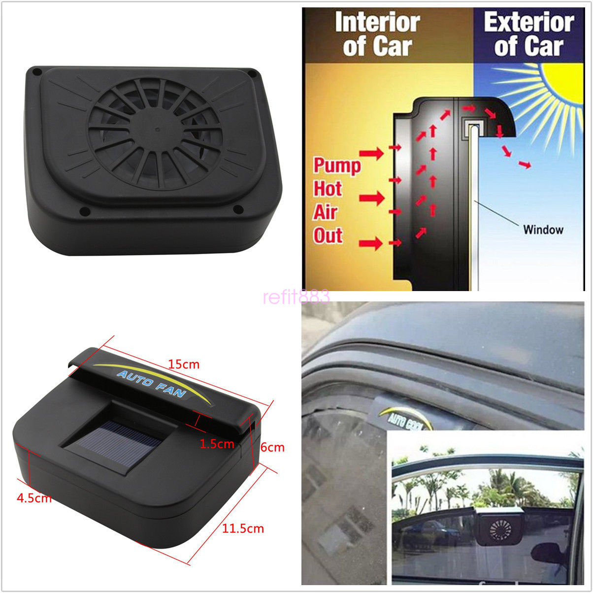 Portable Solar Power Car Windshield Air Vent Exhaust Fan ...