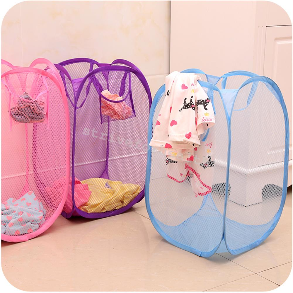 6 colors net collapsible clothing laundry basket bag dirty clothes hampers new ebay - Hamper for dirty clothes ...