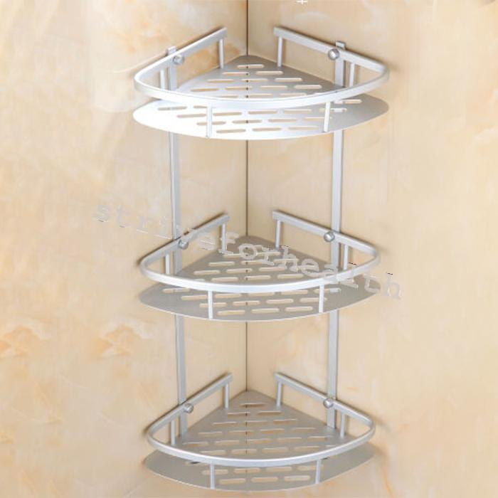 triangular shower caddy shelf bathroom wall corner rack. Black Bedroom Furniture Sets. Home Design Ideas